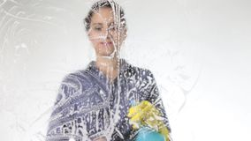 Junge Hausfrau wusch Fenster mit einem Spray, einem Stoff und einem Reinigungsmittel Großes Glas im Schaum Hausarbeitkonzept stock video