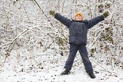 Junge hob Hände aufwärts im Holz im Winter an lizenzfreie stockfotografie