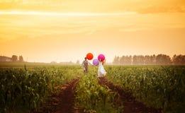 Junge Hochzeitspaare, die auf dem Sonnenuntergangfeld laufen Lizenzfreies Stockbild
