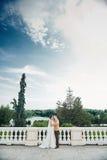 Junge Hochzeitspaare, die draußen romantische Momente genießen Stockfotografie