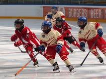 Junge Hockey-Spieler stockbilder