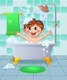 Junge im Badezimmer Stockbilder