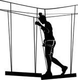 Junge im Erlebnisparkstrickleiter Schattenbild-Abenteuer vektor abbildung