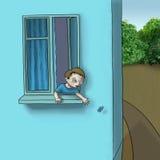 Junge im Fenster Stockfotos