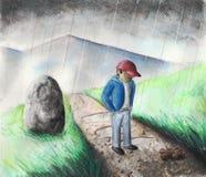 Junge im Regen lizenzfreie abbildung