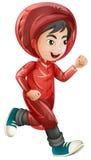 Junge im roten Regenmantelbetrieb Lizenzfreie Stockfotos