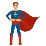 Junge im Superheldkostüm Stockbild