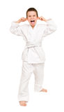 Junge im weißen Kimono Lizenzfreie Stockfotografie