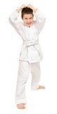Junge im weißen Kimono Lizenzfreie Stockbilder