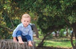 Junge 1 Jahre alte Sitzen auf einem Baumstumpf an einem sonnigen Sommertag K Lizenzfreies Stockbild