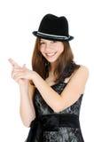 Junge Jugendliche des attraktiven Brunette mit der Hand in der Form eines Gewehrs lizenzfreie stockfotografie