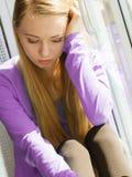 Junge jugendliche traurige Frau Lizenzfreies Stockbild