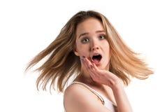 Junge kühle Frau überrascht Stockfotografie