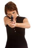 Junge kaukasische Frau, die sich schützt Lizenzfreies Stockbild