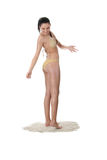 Junge kaukasische Frau im Bikini Stockfoto