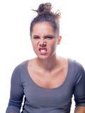 Junge kaukasische Frau mit Gray Eyes And Brown Hair Lizenzfreies Stockfoto