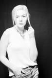 Junge kaukasische Frau Relateable Stockfotografie