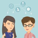 Junge kaukasische Studenten, die mit den Ideen teilen stock abbildung