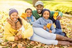 Junge lächelnde Familie, die in den Blättern sitzt Stockfotos