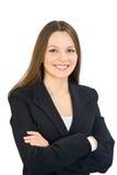 Junge lächelnde Frau in einem Anzug Lizenzfreies Stockfoto