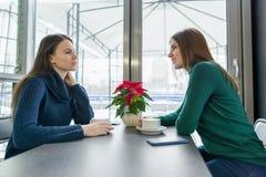 Junge lächelnde Frauen, die auf dem Tisch im Café in der Wintersaison, mit frischem Kaffee, Smartphone, Weihnachtsrote Poinsettia lizenzfreie stockfotos