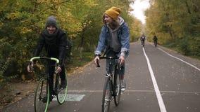 Junge, lächelnde Freunde oder junge Paare in den Hüten, die auf ihre Trekkingsfahrräder durch den Herbstpark auf Fahrrädern radfa stock video