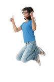 Junge lächelnde Kursteilnehmerfrau stockfotografie
