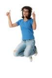 Junge lächelnde Kursteilnehmerfrau lizenzfreies stockbild