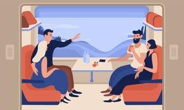 Junge lächelnde Männer und Frauen, die mit dem Zug reisen Frohe Naturen, die im Personenkraftwagen sitzen und miteinander spreche lizenzfreie abbildung