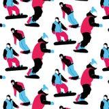 Junge Leute des abstrakten künstlerischen grafischen Mehrfarbenmusters des feiertagswinters nahtlosen auf Snowboards stock abbildung