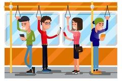 Junge Leute, die den Smartphone öffentlich sozialisiert Transport verwenden Vector Konzept background Lizenzfreie Stockfotos