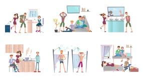 Junge Leute, die in der Herberge leben Männer und Frauen im billigen Hotel Vektorillustrationssatz, lokalisiert auf Weiß lizenzfreie abbildung