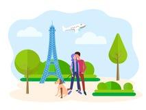 Junge Leute, die gegen den Hintergrund des Eiffelturms in Paris umarmen vektor abbildung