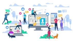 Junge Leute, die Ger?te verwenden Social Networking lizenzfreie abbildung