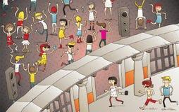 Junge Leute, die Spaß Verein im im Freien haben Stockfoto