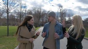 Junge Leute gehen in den Park, sagen den Nachrichten, in Verbindung stehen, lachen Gute Stimmung stock video