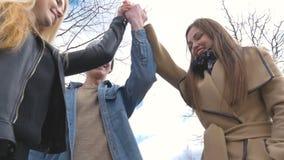 Junge Leute gehen in den Park, sagen den Nachrichten, in Verbindung stehen, lachen Gute Stimmung Fügen Sie Ihre Hände zusammen stock footage