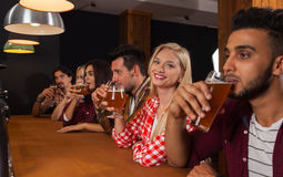 Junge Leute-Gruppe in der Bar, Kellner-Friends Sitting At-hölzerne Gegenkneipe, Getränk-Bier Lizenzfreies Stockfoto