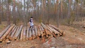 Junge Leute laufen auf den gefällten Bäumen im Wald und bilden ihre Körper aus stock video