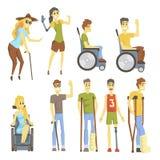 Junge Leute mit dem Dauerhaften und vorübergehenden Erwerbsunfähigkeiten, welche die Verletzung und das Leben vollen Live Collect stock abbildung