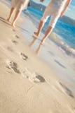 Junge liebevolle Paare, die durch tropischen Strand gehen Stockbilder