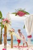 Junge liebevolle Paare am Hochzeitstag in der schönen Hochzeit gründeten wi Lizenzfreie Stockbilder