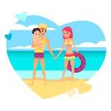 Junge liebevolle Paare mit Baby auf dem Strand Familienliebe Lizenzfreie Stockfotos