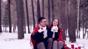 Junge Liebhaber, Paare, die Spaß in einem Winterwald haben stock footage