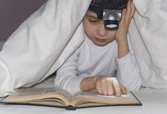 Junge liest das Buch lizenzfreie stockbilder