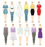 Junge Mädchen in der unterschiedlichen Kleidung Stockbilder