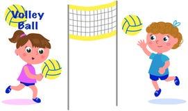 Junge Mädchen, die Volleyball spielen Lizenzfreie Stockbilder