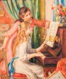 Junge Mädchen am Klavier - Malerei von Pierre-Auguste Renoir u. von x28; 18 lizenzfreie stockfotos