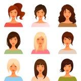 Junge Mädchen mit verschiedener Frisur vektor abbildung