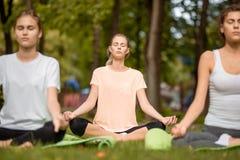 Junge Mädchen sitzen in den Lotussitzen, die Yoga auf Yogamatten auf grünem Gras im Park an einem warmen Tag tun relax stockfotografie